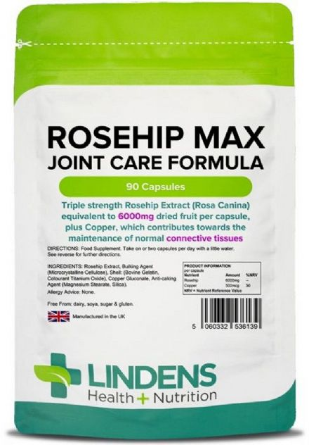 Rosehip Max 6000mg x 90 Capsules; Joint Care Formula; Lindens